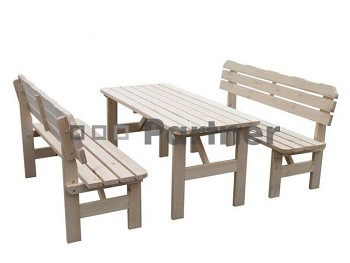 Masivní dřevěný zahradní nábytek (sestava z borovice 1+2) dřevo 32 mm