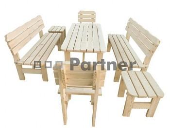 Masivní dřevěný zahradní nábytek (sestava z borovice 1+6) dřevo 32 mm