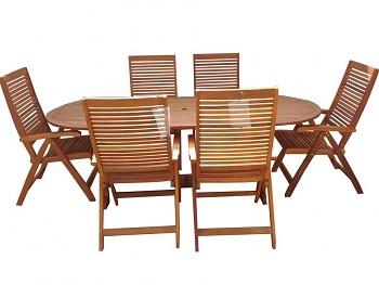 Zahradní dřevěný nábytek - sestava HUGO 1+ 6 s certifikátem FSC
